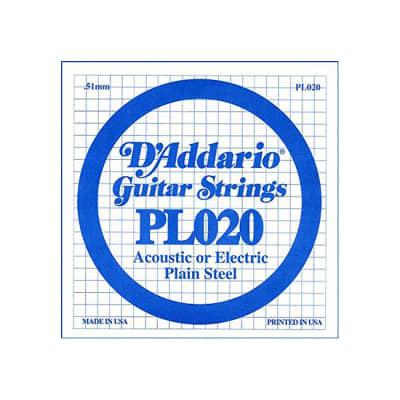 D'Addario PL020 SINGLE PLAIN STEEL 020 Acoustic Electric Guitar String