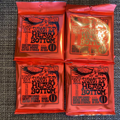 4 Sets of Ernie Ball 2215 Skinny Top Heavy Bottom Electric Guitar Strings 10 -52 Free String Winder