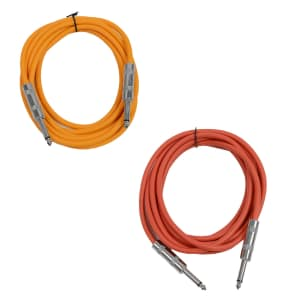 """Seismic Audio SASTSX-10-ORANGERED 1/4"""" TS Male to 1/4"""" TS Male Patch Cables - 10' (2-Pack)"""