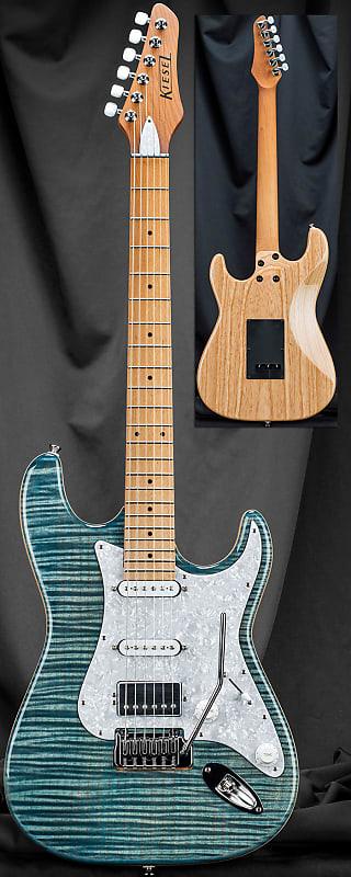 Kiesel D6X Delos Bolt-Neck Guitar with Hipshot Tremolo Aurora Blue Flame w/  Soft Case