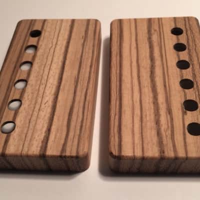 Guilford Zebrawood Humbucker Covers - Set of 2 - With Holes - USA