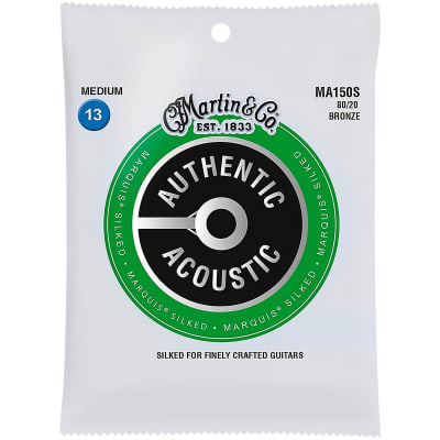 Martin MA150S Authentic Acoustic Marquis Silked 80/20 Bronze Acoustic Guitar Strings - Medium (.13 -