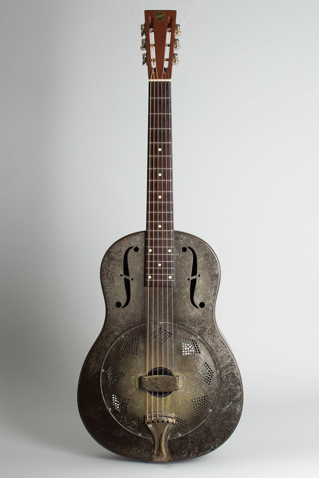 National  Duolian Resophonic Guitar (1931), ser. #C-1551, brown hard shell case.