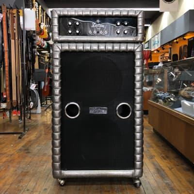 """Kustom USA K200 B1 2-Channel 100-watt Bass Head w/Original 2x15"""" Speaker Cab 1969 Charcoal Sparkle"""