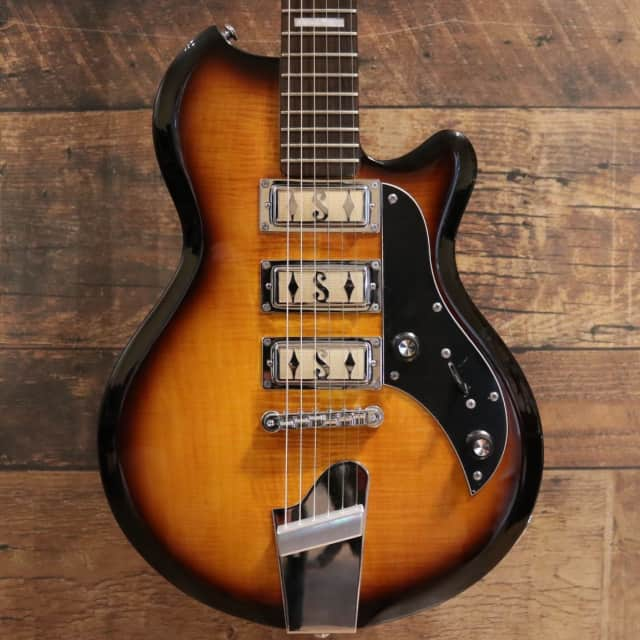 Supro 2030TS Island Series Hampton Triple Pickup Electric Guitar - Tobacco Sunburst w/ Flamed Maple image