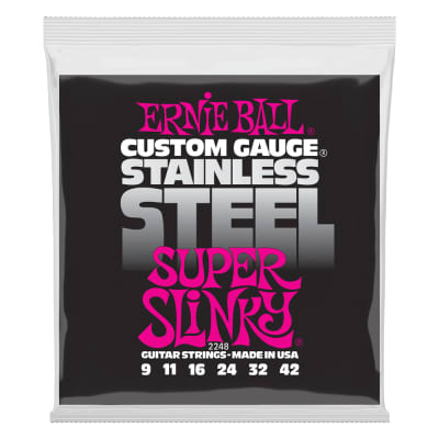 Ernie Ball 2248 Super Slinky Stainless Steel Wound Electric Guitar Strings - 9-42 Gauge