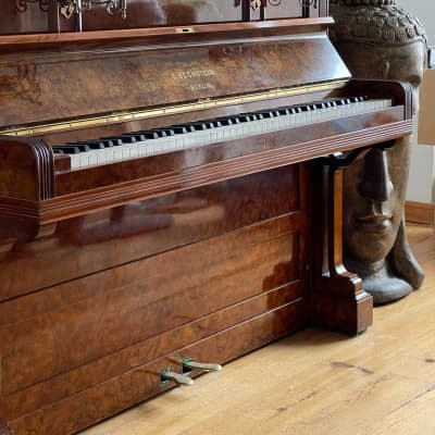 Extremely Beautiful Antique Bechstein Upright Piano 1894 Burr Walnut Fully Restored With Guarantee