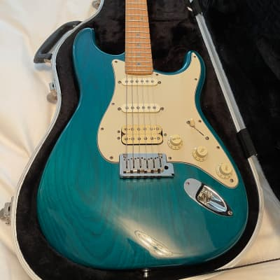 Fender 1998 Fender USA American Deluxe Fat Stratocaster with OHSC 1998 transparent teal green for sale
