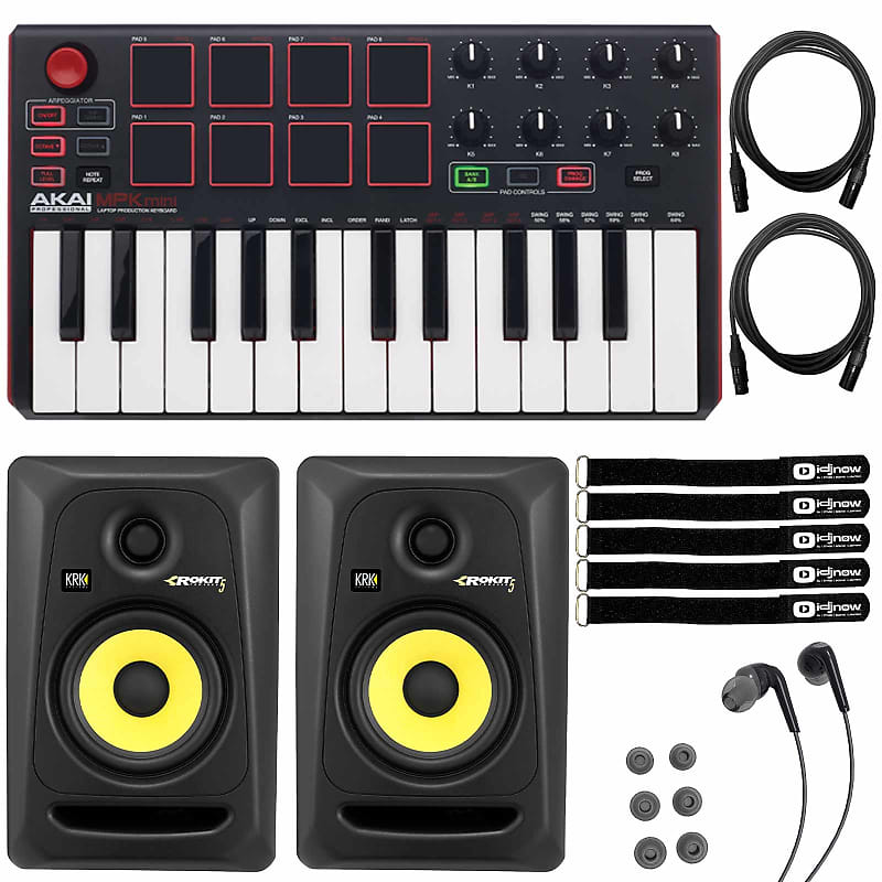 krk rokit rp5g3 5 studio monitors w akai mpk mini mkii reverb. Black Bedroom Furniture Sets. Home Design Ideas