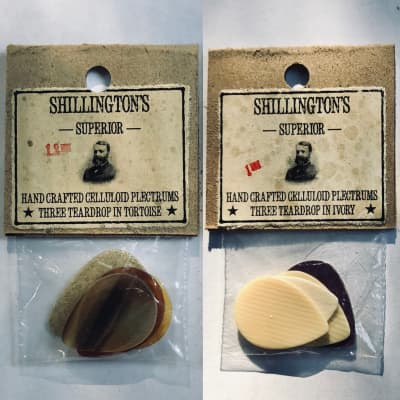 1920's-1940's NOS Celluloid Picks -3x (1.2 mm) Teardrop in Tortoise Shell -