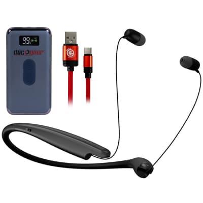 LG TONE Style L6S Earphones Black with Deco Gear Power Bank Bundle