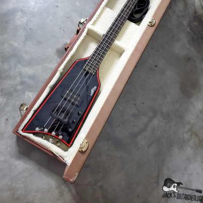 RARE: Phantom Guitarworks HBBR-BR Batmobile Surf Stick Electric Bass (1980s, Black/Red) for sale
