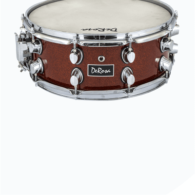 """De Rosa DRMS55-MWR 14"""" Snare Drum with Sticks & Drum Key - Metallic Wine Red"""