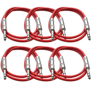 """Seismic Audio SATRX-3RED6 1/4"""" TRS Patch Cables - 3' (6-Pack)"""