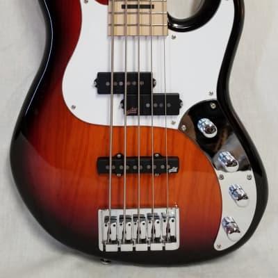 Zon Mosaic Mojo 5 String P/J Electric Bass Guitar, Ash Body, Maple Fingerboard, Brown Sunburst W/ Bag for sale