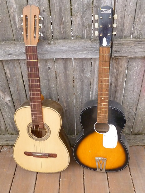 2 old guitars Lindell classical 1960's + acoustic 30