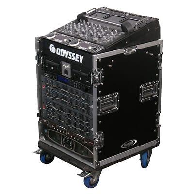 Odyssey Cases FZ1112W ATA Combo Rack DJ/Pro Audio Case with 12U Vertical Spaces & 11U Slant Rack Spaces
