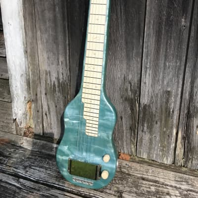 1955 Magnatone Lap Steel Hawaiian Guitar Mother-of-Toilet Seat Original Case Blue MOTS for sale