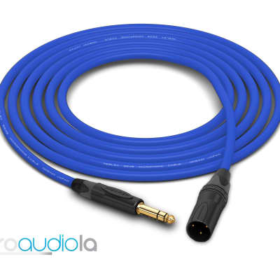 "Mogami 2549 Cable | Neutrik Gold 1/4"" TRS to XLR-Male | Blue 55 Feet | 55 Ft. | 55'"