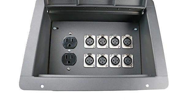 Elilte core recessed stage floor box w 8 female xlr mic for Xlr floor box