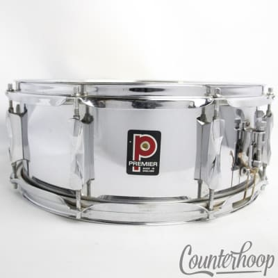 "Premier 14x5""Snare Drum Chrome Steel Model 1005 Vintage70s 8Lug England Everplay"