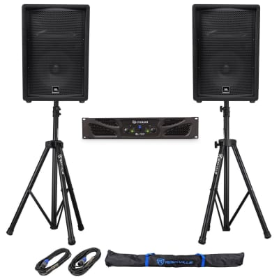 "(2) JBL Pro JRX212 12"" 2000w 8 Ohm PA/DJ Speakers+Crown Amplifier+Stands+Cables"