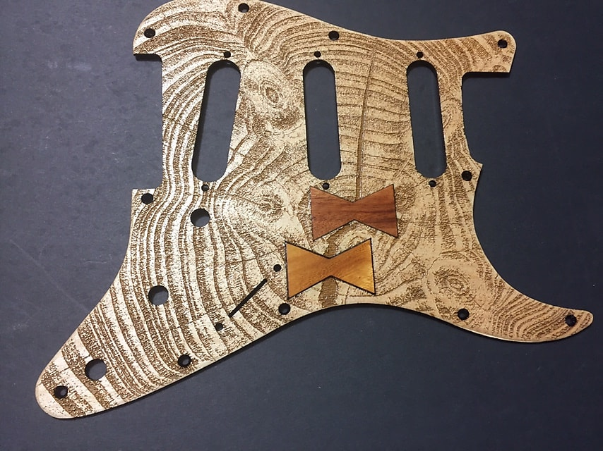 tree rings with exotic wood bow ties laser engraved art pickguard for  stratocaster plus FTGP guitar case sticker