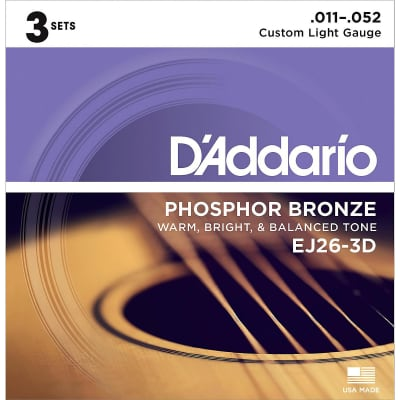 D'Addario EJ26-3D Phosphor Bronze Acoustic Guitar Strings 3-Pack, Custom Light Gauge