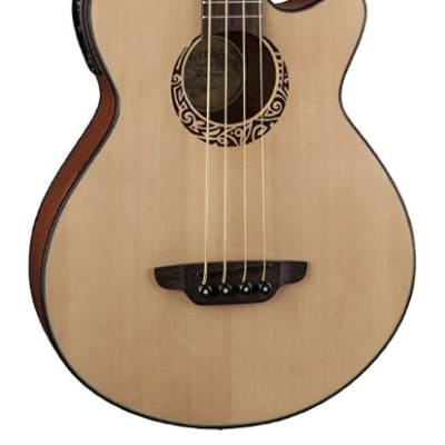 Luna LAB30TRIBAL Tribal Spruce Top Short Scale Acoustic Electric Bass Guitar for sale