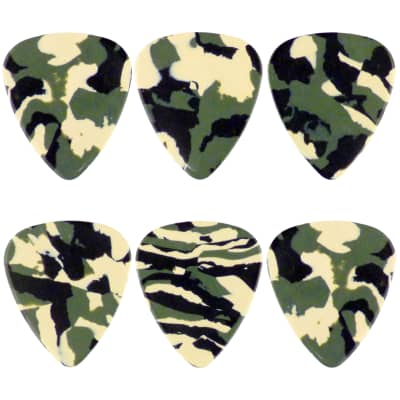 Celluloid Woodland Camo Guitar Or Bass Pick - 0.96 mm Heavy Gauge - 351 Style - 6 Pack New