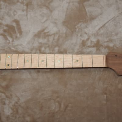 "Strat Style Unfinished Neck Birdseye Maple on Walnut 22 Medium Tall Frets C Profile 10"" Radius!"