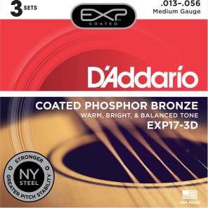D'Addario EXP17-3D Coated Phosphor Bronze Acoustic Guitar Strings - Medium (13-56) 3-Pack