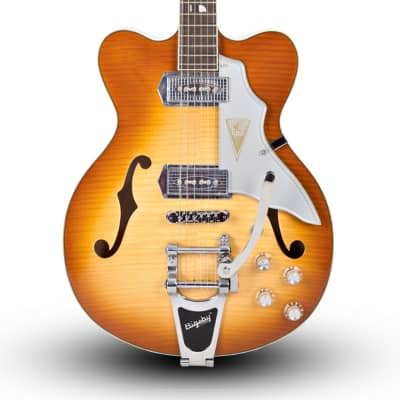 Kay Jazz II Electric Guitar with Bigsby - Brand New - K775VS  Iced Tea Sunburst  Reissue - With Case
