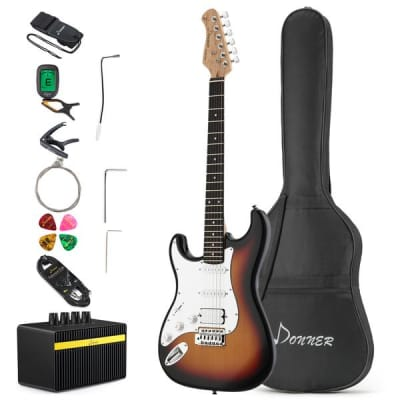 Left Handed DST-1SL Full-Size 39 Inch Electric Guitar Sunburst with Amplifier and Accessories