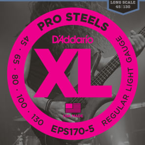 D'Addario EPS170-5 5-String ProSteels Bass Guitar Strings Light 45-130 Long Scale