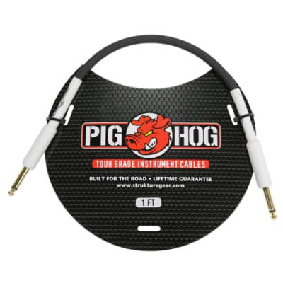 "Pig Hog PH1 1ft White on Black 1/4"" Guitar, Bass, Instrument Cable"