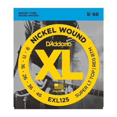 D'Addario EXL125 Nickel Wound, Super Light Top/Regular Bottom, 09-46