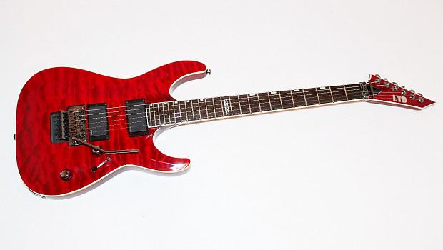 esp ltd mh 401 qm fr red electric guitar w emg 81 85 reverb. Black Bedroom Furniture Sets. Home Design Ideas