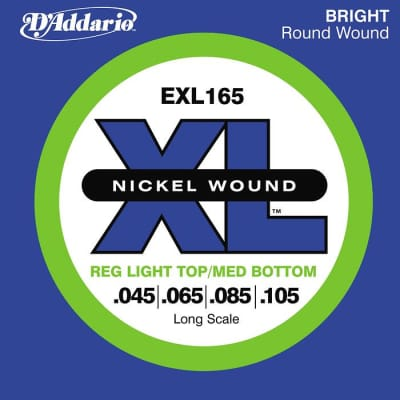 D'Addario EXL165 XL Nickel Bass Strings Light Top/Med Bottom/Long Scale 45-105