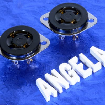 Two 4 Pin Black Phenolic & Gold Vintage Western Electric Style Tube Sockets For 300B, 2A3, 45 Etc.