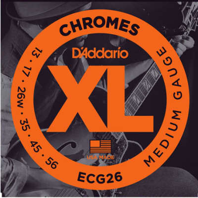 D'Addario ECG26 Chromes Flat Wound Electric Guitar Strings, Medium Gauge, 13-56