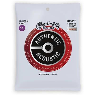 Martin MA535T Authentic Acoustic Lifespan 2.0 Phosphor Bronze Acoustic Guitar Strings - Custom Light (.11 - .52)
