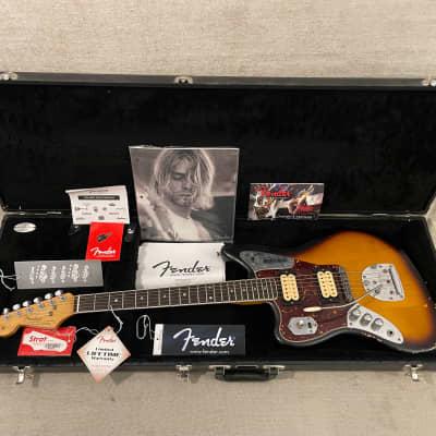 2012 Fender Left Hand Kurt Cobain Road Worn Jaguar Lefty Sunburst Lacquer + OHSC Case & Candy