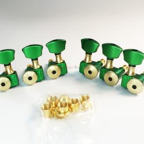Sperzel 3X3 Trimlok 3-Per-Side Locking Tuners Tuning Pegs - GREEN & GOLD for sale