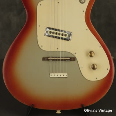 RARE 1960's HOPF solid body ORANGE/SILVER BURST made in Germany for sale