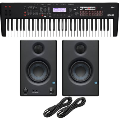 Korg KROSS 2 61-Key Synthesizer Workstation (Super Matte Black), Presonus Eris3.5 Monitors, (2) 1/4 Cables Bundle