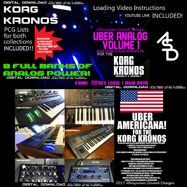 Korg Kronos Uber Analog & Uber Americana 2 for 1 Analog Synthesizer Sound  Sample Collections