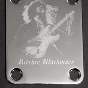 GUITAR NECK PLATE Custom Engraved Etched - Fits Fender - 	RITCHIE BLACKMORE - Chrome