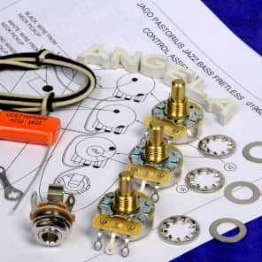 Angela Level 1 Wiring Kit For Fender Jazz Bass With CTS 450G Pots, .047uF Orange Drop 716P, More!