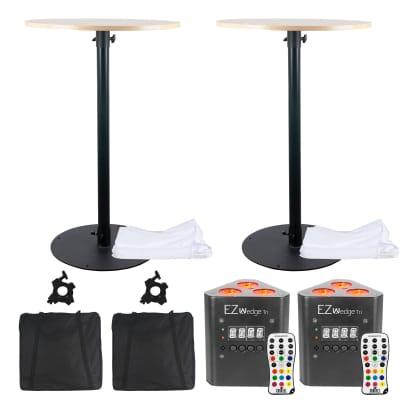 Eliminator Round Bar Cocktail Table Adjustable Counter w Chauvet DJ EZWedge 2 Pk